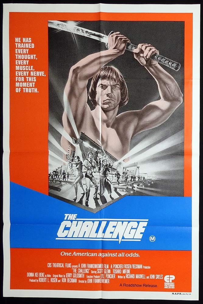 THE CHALLENGE Original Australian One Sheet Movie poster Scott Glenn Toshirō Mifune