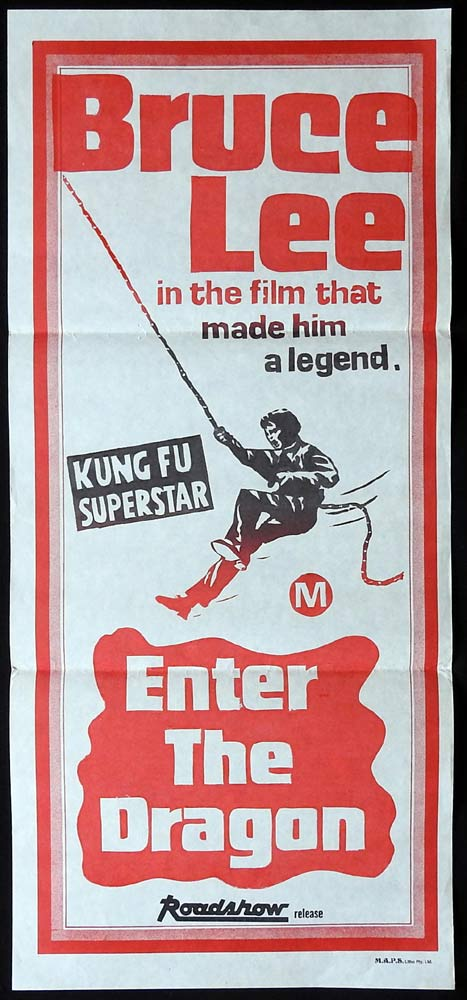 ENTER THE DRAGON Original 1970s Stock Daybill Movie poster BRUCE LEE Kung Fu Martial arts