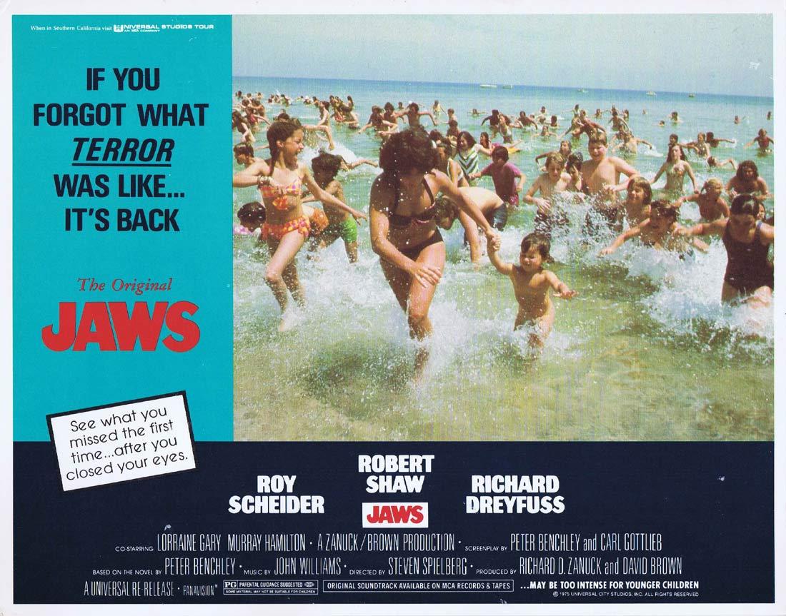 JAWS Original 1979r Lobby card 2 Roy Scheider Robert Shaw Shark