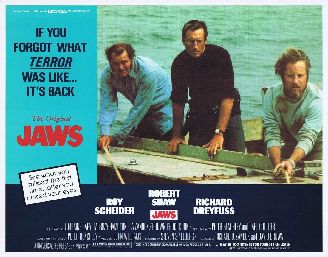 JAWS Original 1979r Lobby card 3 Roy Scheider Robert Shaw Shark