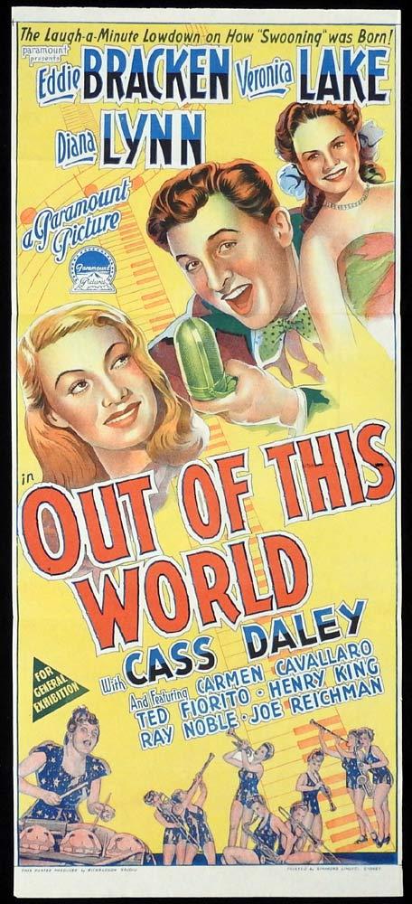 OUT OF THIS WORLD Original Daybill Movie Poster Eddie Bracken Veronica Lake