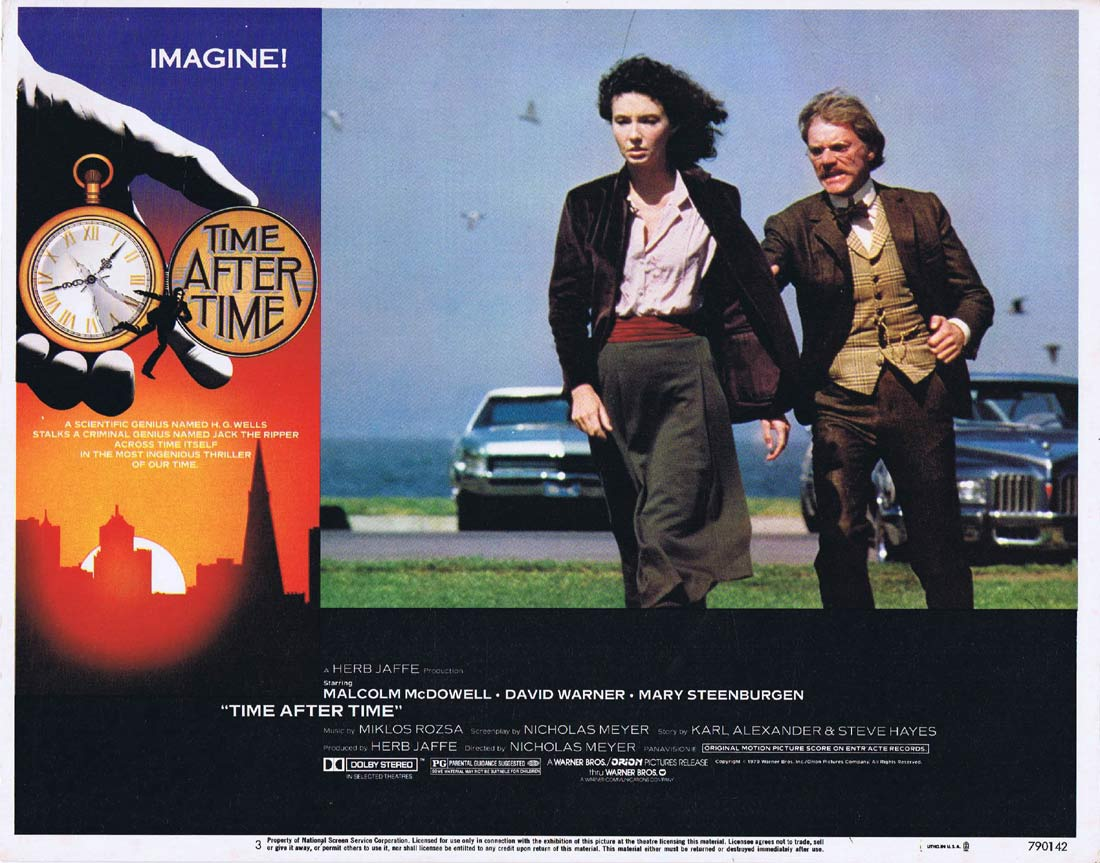 TIME AFTER TIME Original Lobby Card 3 Malcolm McDowell Time Machine