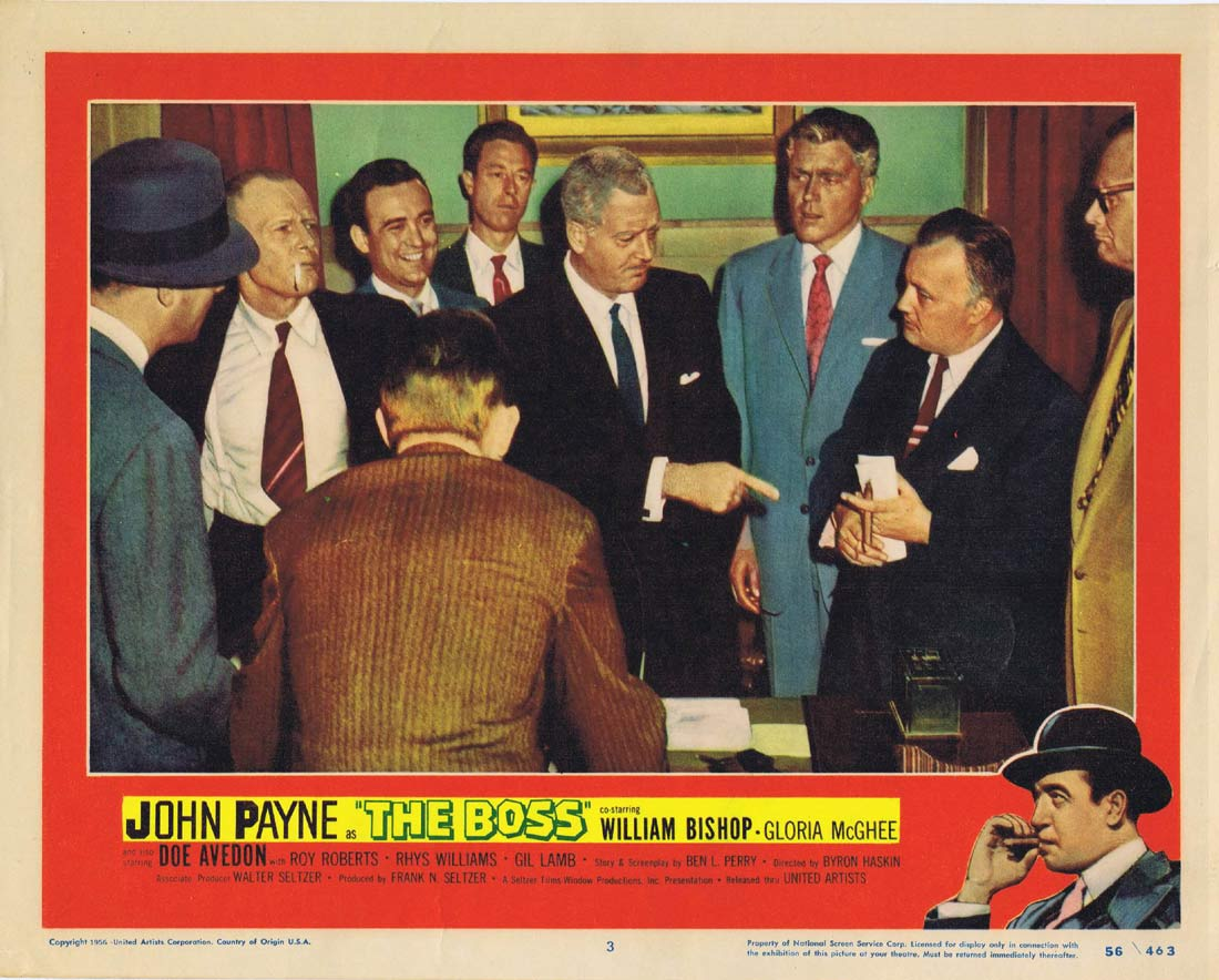 THE BOSS Original Lobby Card 3 John Payne Film Noir
