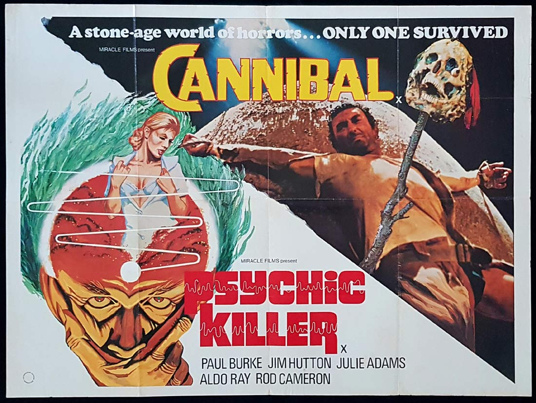 CANNIBAL PSYCHIC KILLER Original Double Bill British Quad Movie Poster