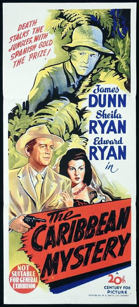 THE CARIBBEAN MYSTERY Original Daybill Movie Poster James Dunn Sheila Ryan Film Noir