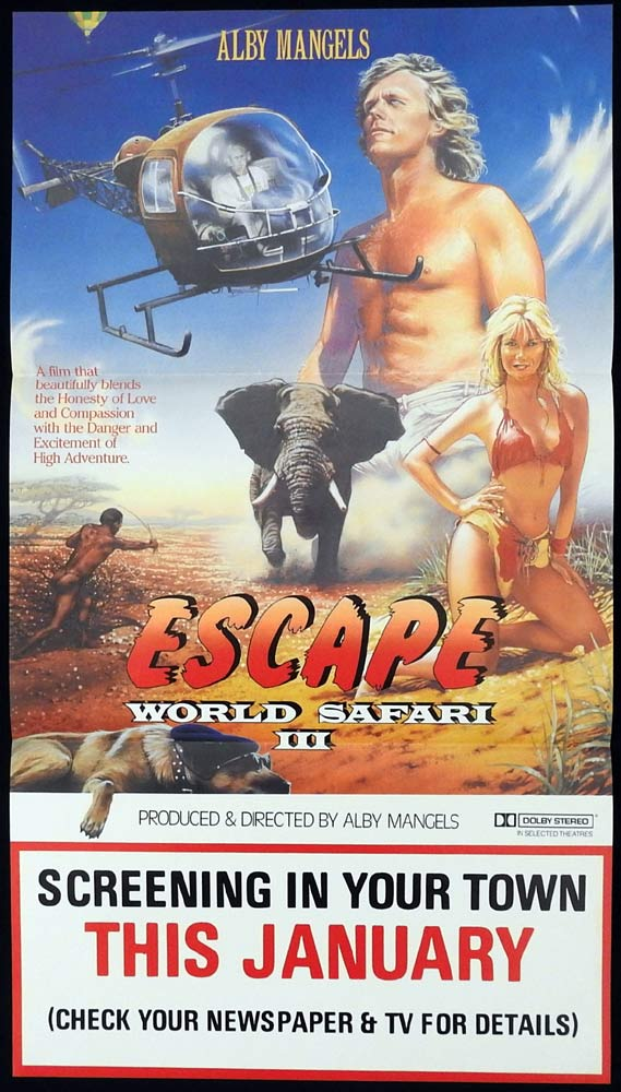 "WORLD SAFARI 3 ESCAPE Daybill Movie poster Alby Mangels AUSTRALIAN FILM ""A"" III"