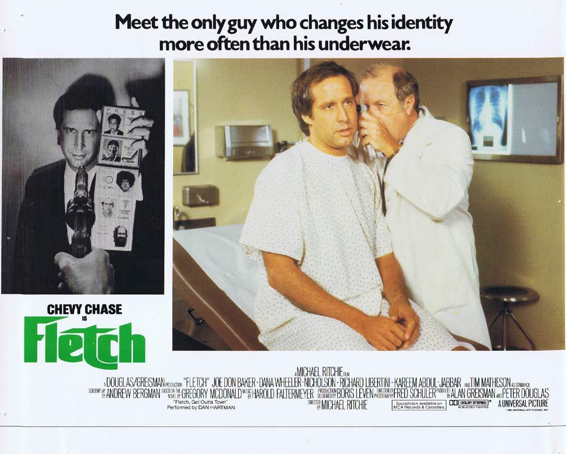 FLETCH Original Lobby Card 3 Chevy Chase Joe Don Baker