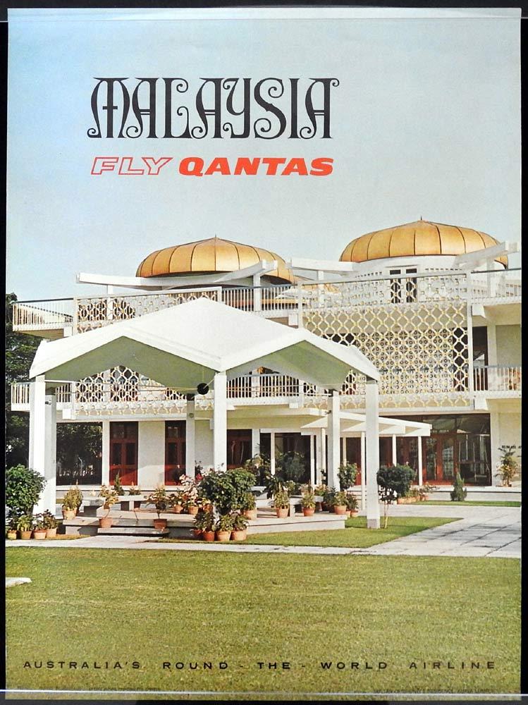 QANTAS Vintage Travel Poster MALAYSIA 1960s