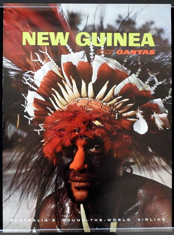 QANTAS Vintage Travel Poster NEW GUINEA 1960s