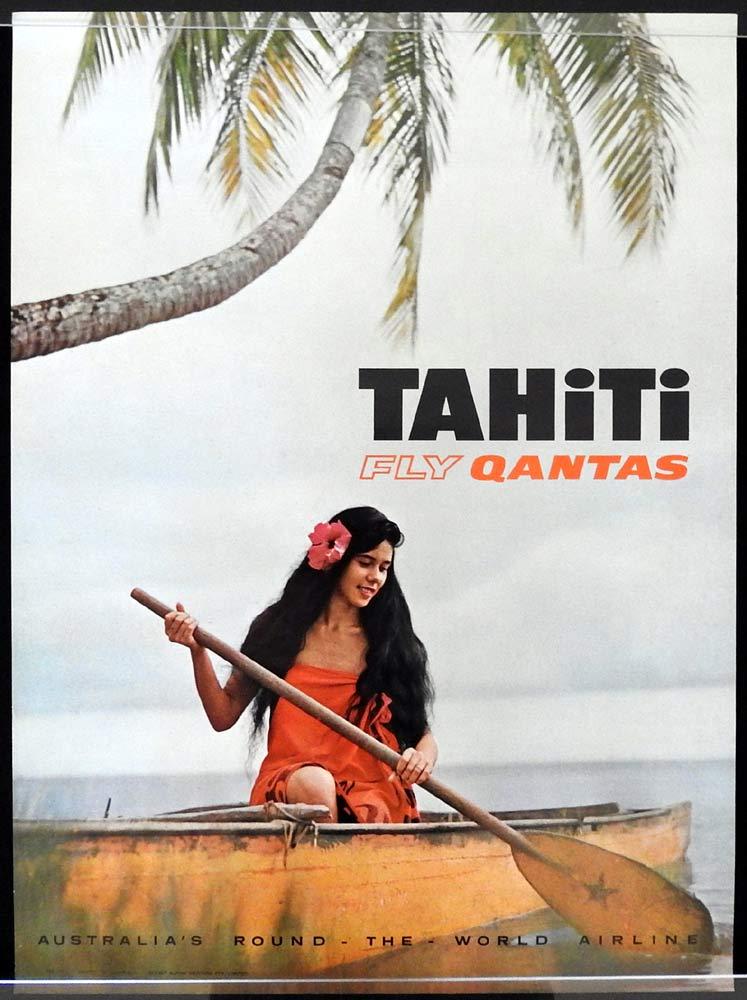 QANTAS Vintage Travel Poster TAHITI 1960s