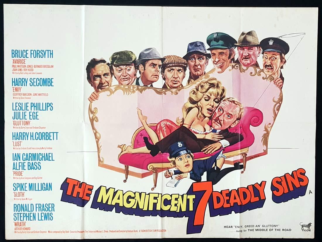 THE MAGNIFICENT SEVEN DEADLY SINS Original British Quad Movie Poster Tom Chantrell art