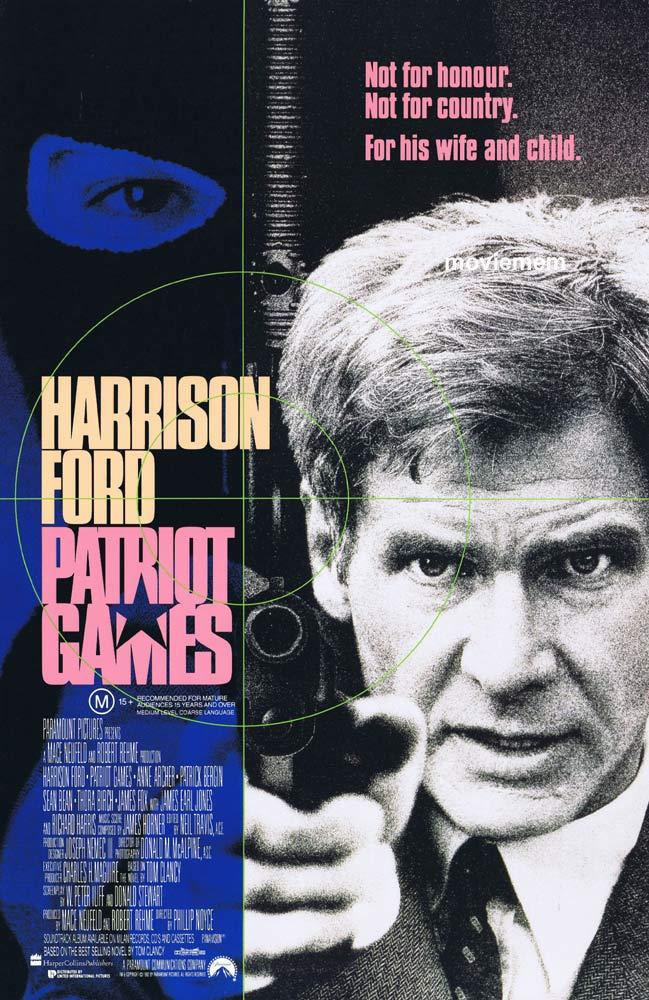 PATRIOT GAMES Original Daybill Movie Poster Harrison Ford Anne Archer