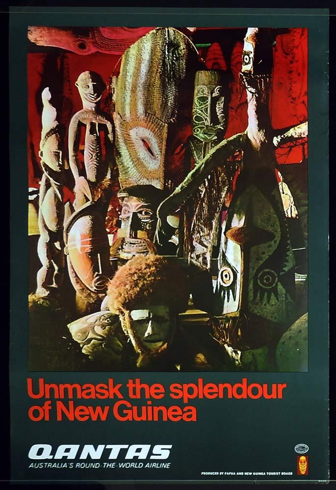QANTAS Vintage Travel Poster NEW GUINEA 1960s B