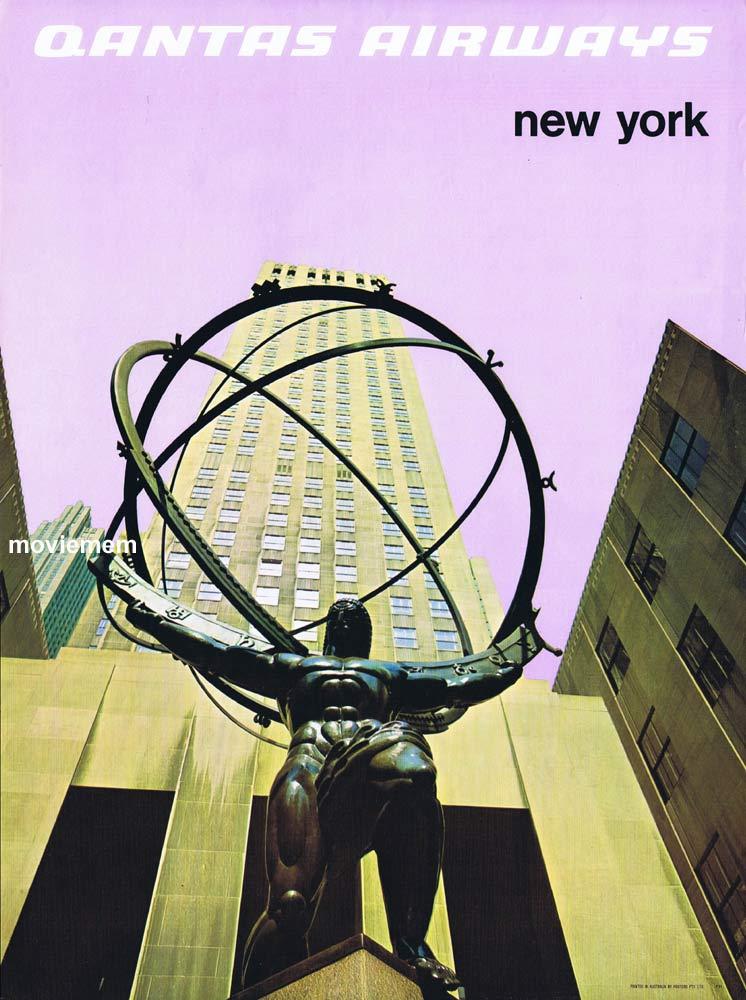 QANTAS Vintage Travel Poster NEW YORK c.1970s