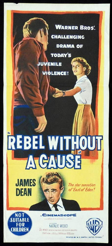REBEL WITHOUT A CAUSE Original Daybill Movie poster James Dean Natalie Wood