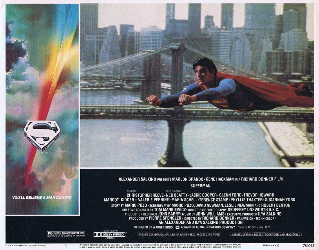 SUPERMAN THE MOVIE Original Lobby Card 3 Gene Hackman Christopher Reeve