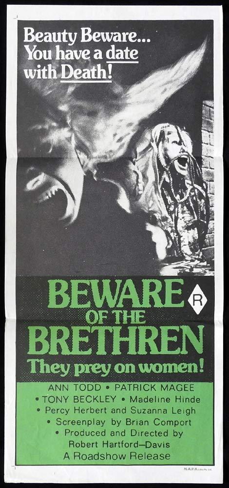 BEWARE OF THE BRETHREN Original Daybill Movie Poster Ann Todd Patrick Magee Horror Slasher