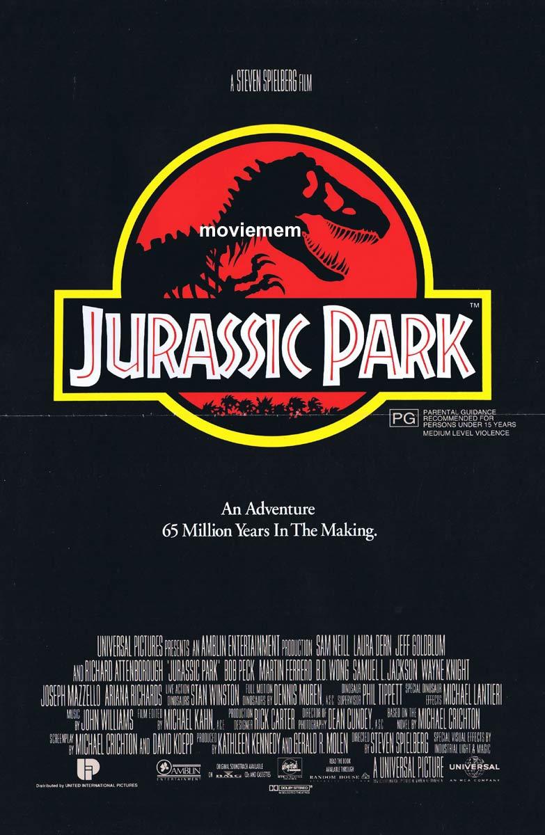 JURASSIC PARK Original Daybill Movie Poster Sam Neill Dinosaurs Laura Dern