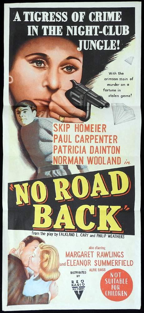 NO ROAD BACK Original Daybill Movie poster Skip Homeier RKO Film Noir