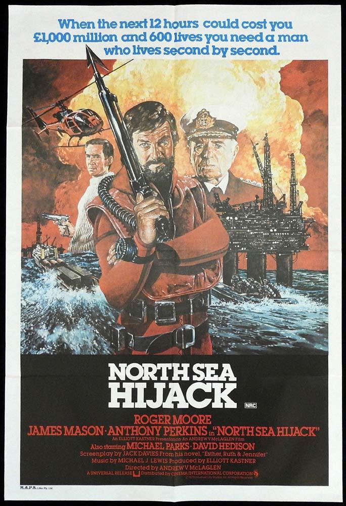NORTH SEA HIJACK Original ONE SHEET Movie poster Roger Moore James Mason