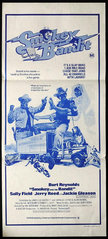 SMOKEY AND THE BANDIT Original Blue Style Daybill Movie poster Burt Reynolds