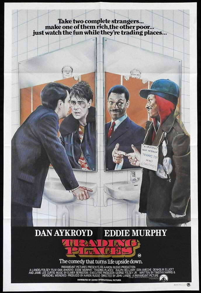 TRADING PLACES Original One Sheet Movie Poster Dan Aykroyd Eddie Murphy