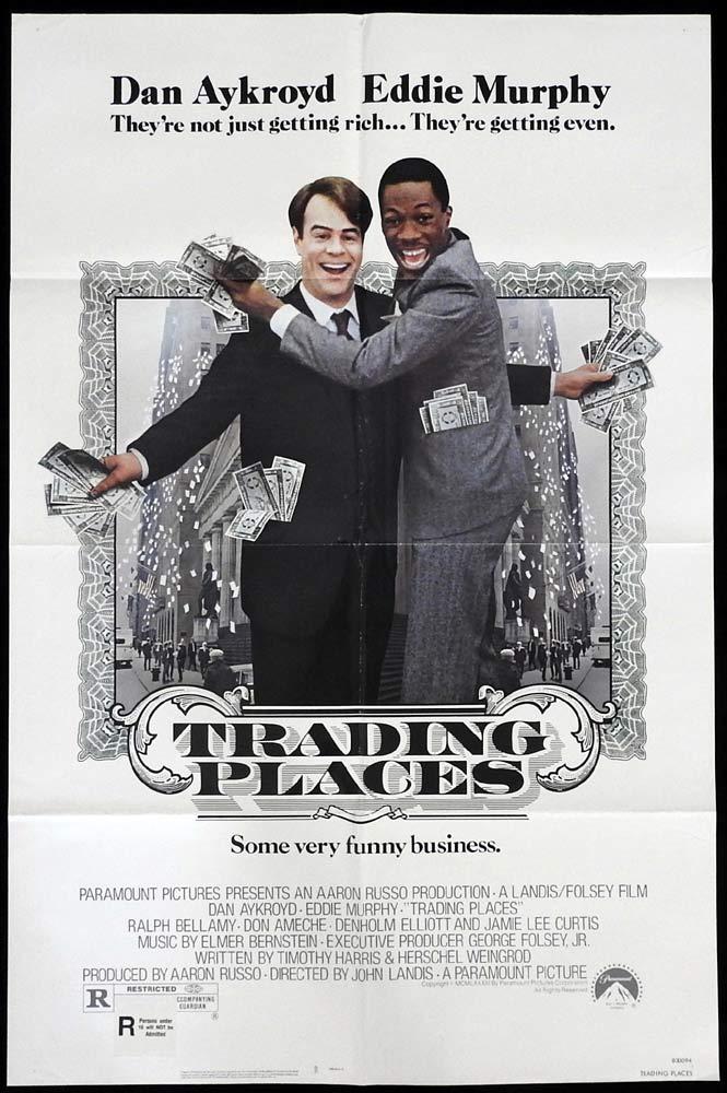 TRADING PLACES Original US One Sheet Movie Poster Dan Aykroyd Eddie Murphy