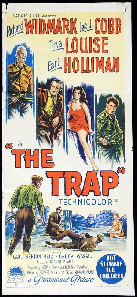 THE TRAP Original Daybill Movie poster Richard Widmark Richardson Studio Film Noir