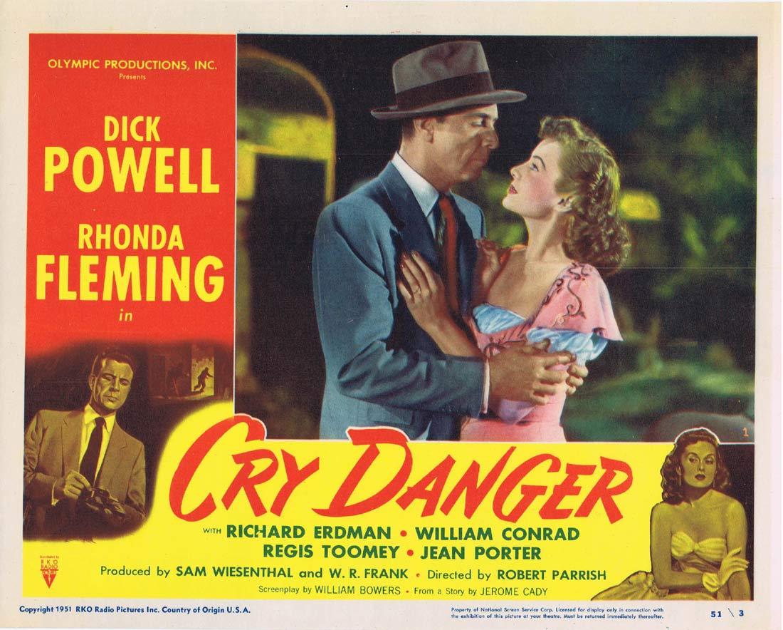 CRY DANGER Lobby card 1 1951 Dick Powell Rhonda Fleming RKO Film Noir