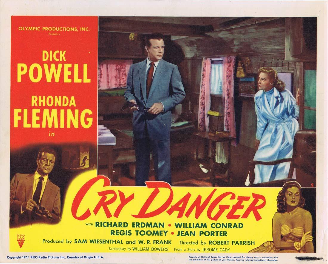 CRY DANGER Lobby card 2 1951 Dick Powell Rhonda Fleming RKO Film Noir