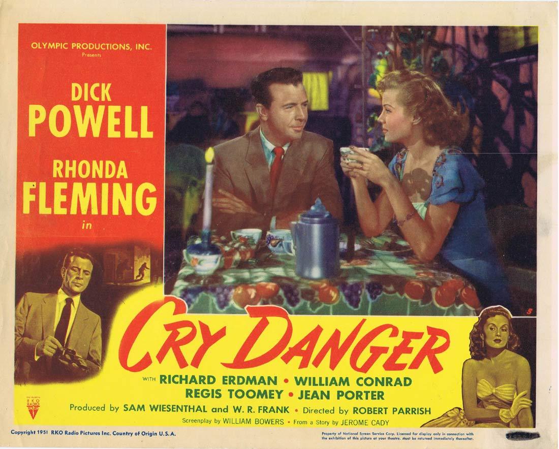 CRY DANGER Lobby card 5 1951 Dick Powell Rhonda Fleming RKO Film Noir