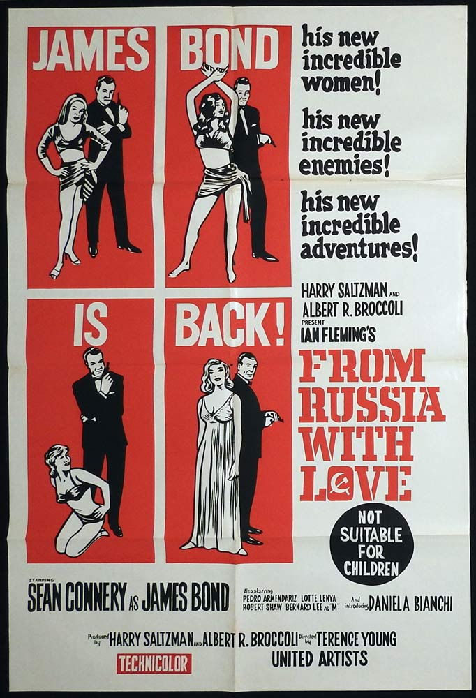 FROM RUSSIA WITH LOVE Australian One sheet Movie poster James Bond