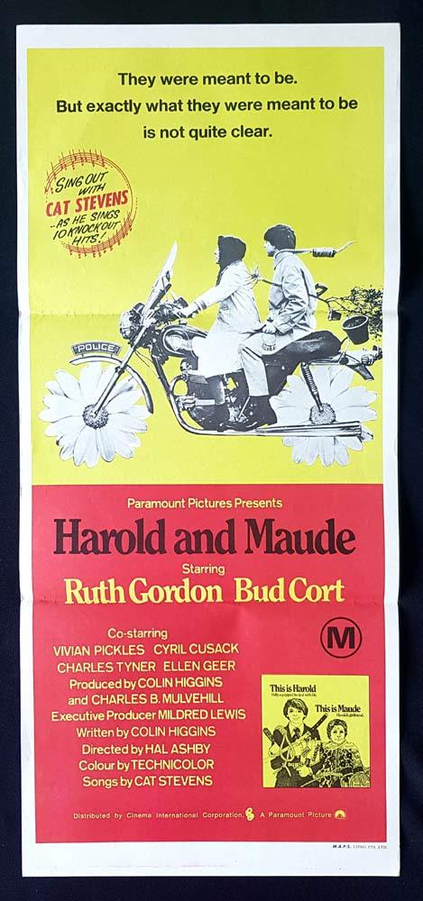 HAROLD AND MAUDE Original Daybill Movie Poster Ruth Gordon Bud Cort
