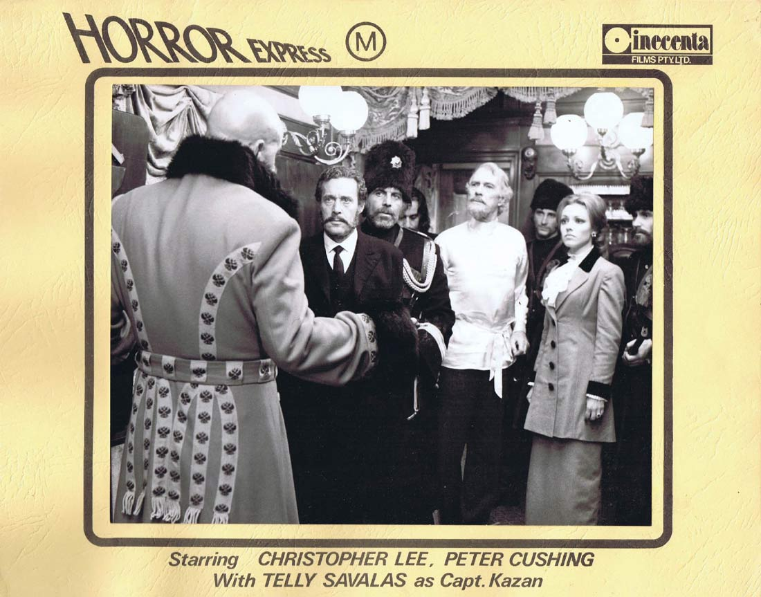HORROR EXPRESS Original AUSTRALIAN Lobby Card 1 Christopher Lee Peter Cushing
