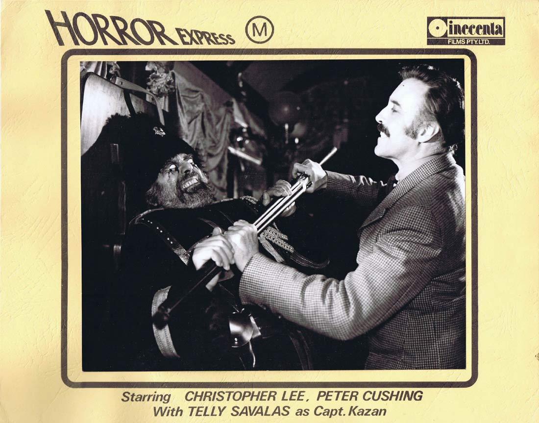 HORROR EXPRESS Original AUSTRALIAN Lobby Card 3 Christopher Lee Peter Cushing