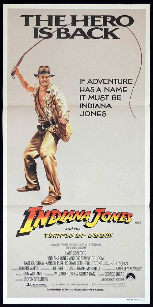 INDIANA JONES AND THE TEMPLE OF DOOM Original daybill Movie poster Hero is Back