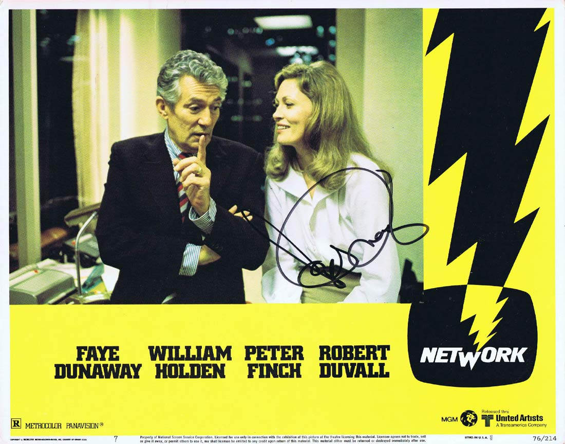 NETWORK Original Lobby Card 7 AUTOGRAPHED by Faye Dunaway