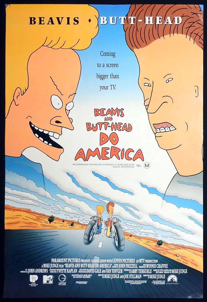 BEAVIS AND BUTTHEAD DO AMERICA Original Rolled One sheet Movie poster Mike Judge Demi Moore