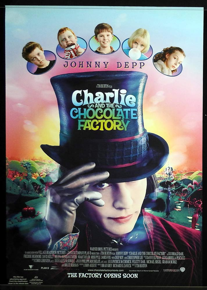 CHARLIE AND THE CHOCOLATE FACTORY Original Rolled One sheet Movie poster Johnny Depp Tim Burton