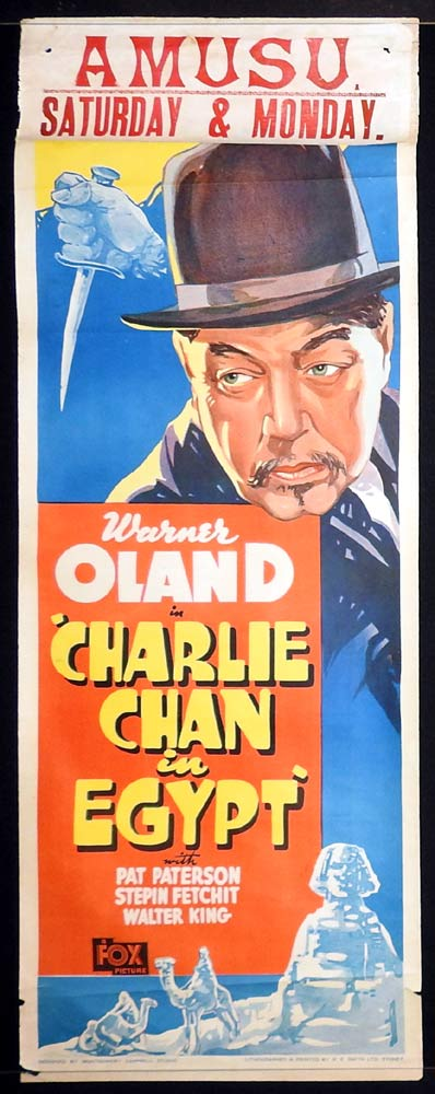 CHARLIE CHAN IN EGYPT Long Daybill Movie poster 1935 Warner Oland