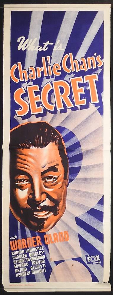 CHARLIE CHAN'S SECRET Long Daybill Movie poster 1936 Warner Oland