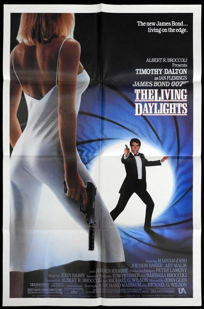 THE LIVING DAYLIGHTS Original US One sheet Movie poster Timothy Dalton James Bond