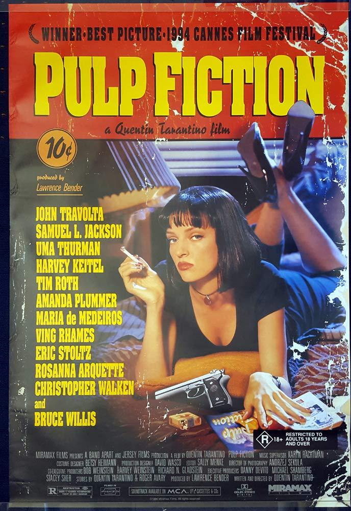PULP FICTION Original Daybill Movie poster John Travolta Quentin Tarantino