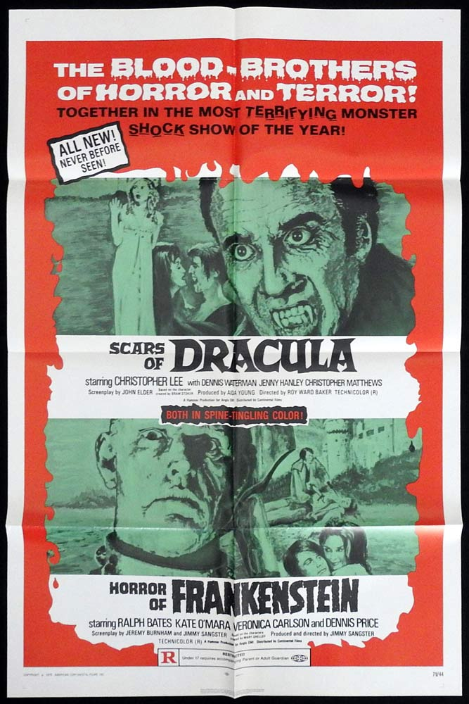 SCARS OF DRACULA and HORROR OF FRANKENSTEIN Original DF US One sheet Movie poster