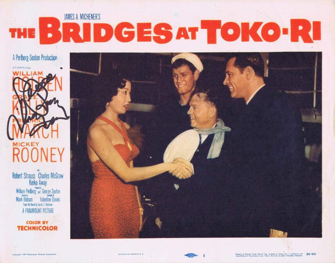 THE BRIDGES AT TOKO-RI Original Lobby Card 1 Autographed by Mickey Rooney