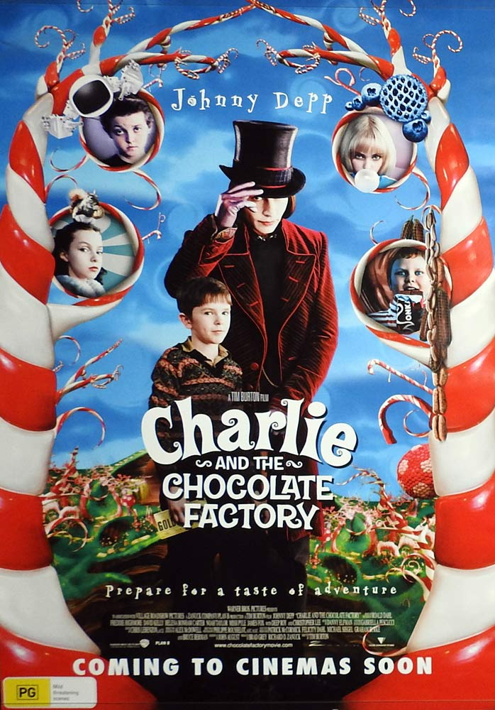 CHARLIE AND THE CHOCOLATE FACTORY Original ADVANCE One sheet Movie poster Johnny Depp