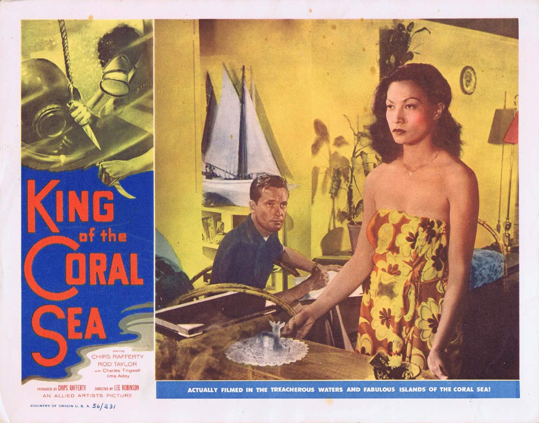 KING OF THE CORAL SEA Lobby Card 8 1953 Charles Tingwell RARE Skin Diving