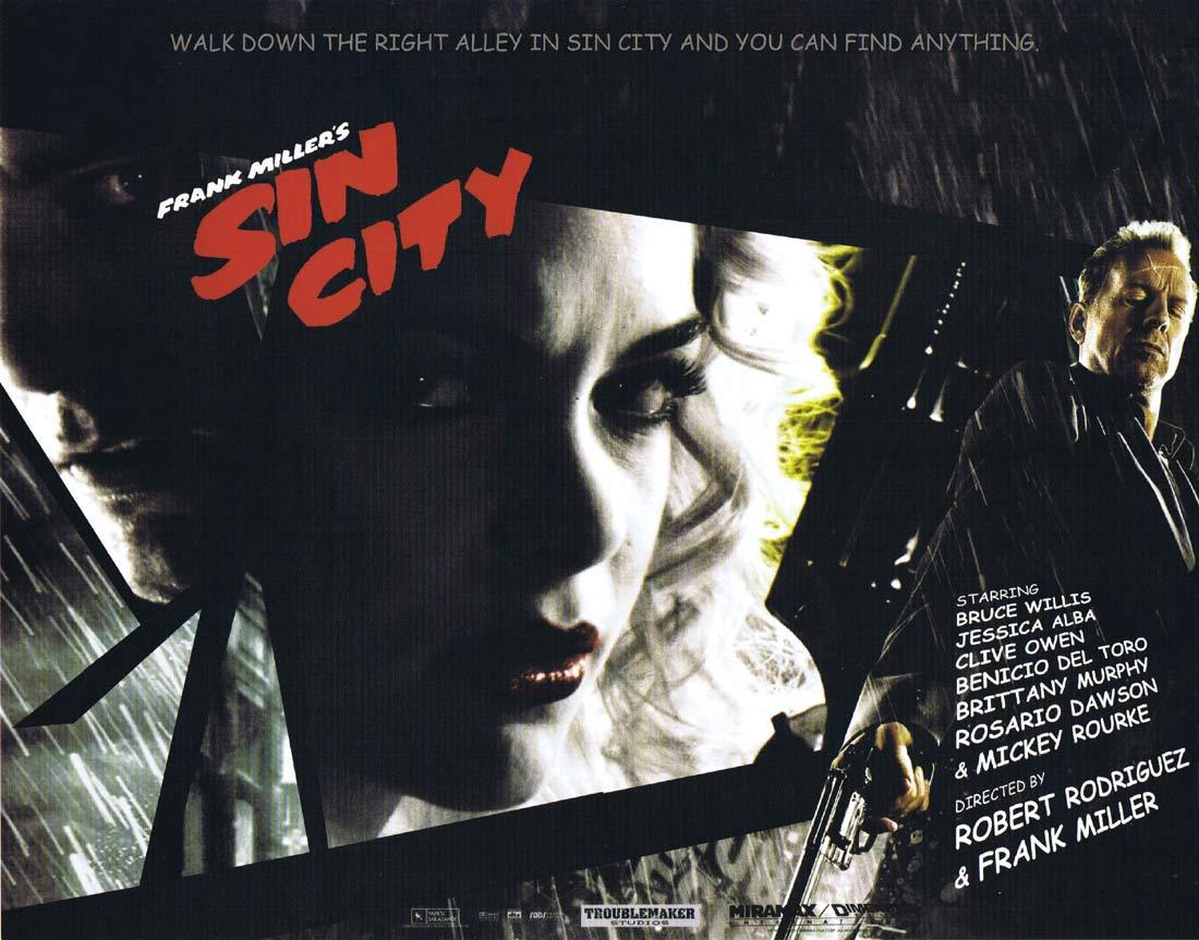 SIN CITY Original Lobby Card 3 Jessica Alba Mickey Rourke Bruce Willis