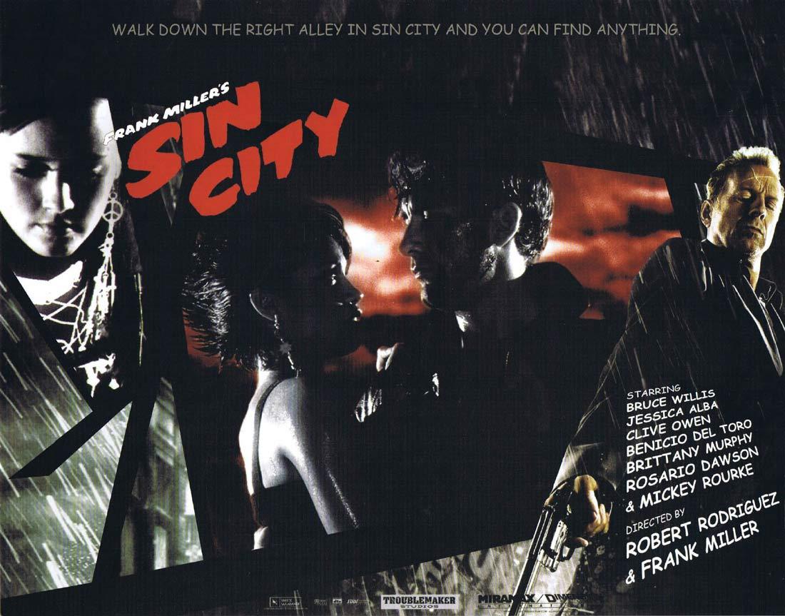 SIN CITY Original Lobby Card 4 Jessica Alba Mickey Rourke Bruce Willis