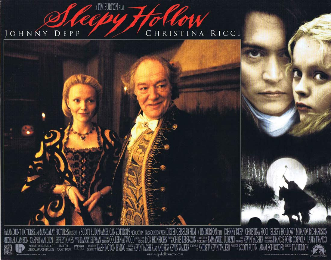 SLEEPY HOLLOW Original Lobby Card 1 Johnny Depp Tim Burton Christina Ricci